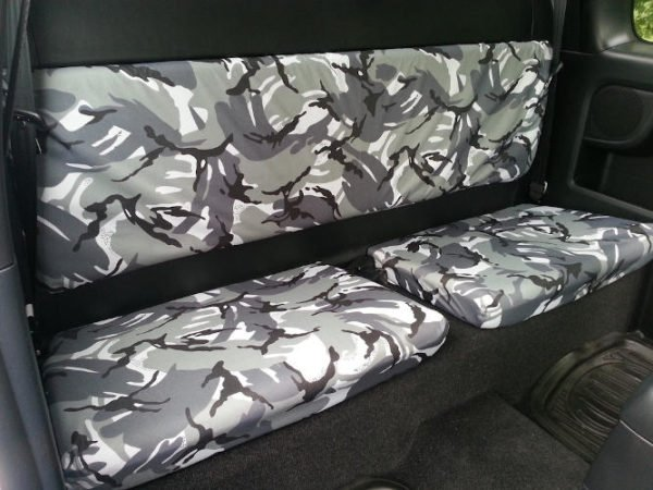 Grey Camouflage Seat Covers for Toyota Hilux Mk7 Extra Cab