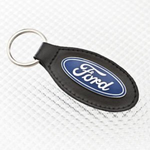 Real Leather Key Ring with Ford Blue Oval