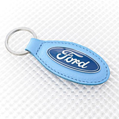 Ford Key Ring with Blue Leather Key Fob