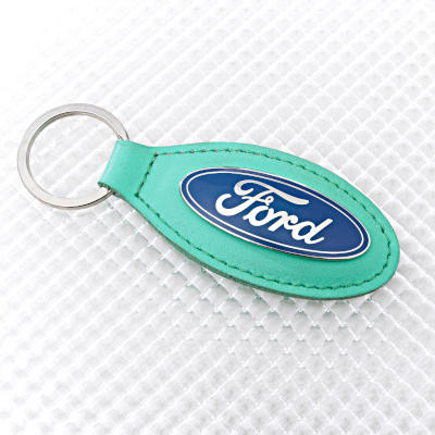 Ford Key Ring with Green Leather Key Fob