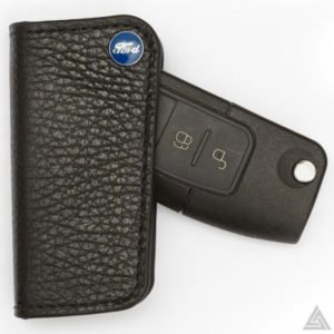 Real Leather Key Case with Blue Ford Logo