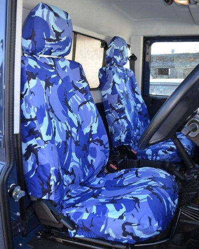 Land Rover Defender Seat Covers in Blue Camo