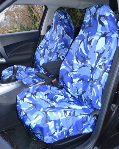 Front Seat Covers for Transit Van - Blue Camouflage