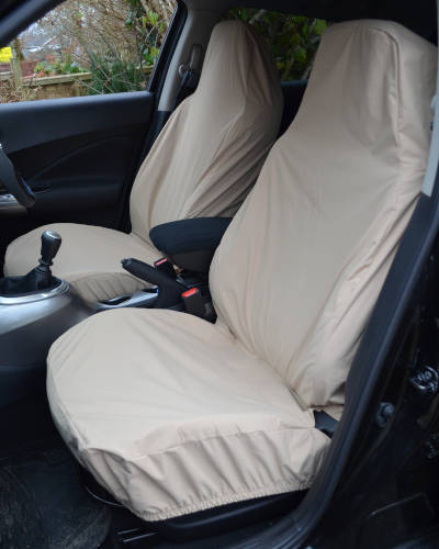 Front Seat Covers for Nissan Qashqai in Cream, Beige