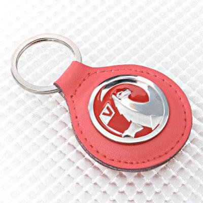 Vauxhall Key Ring - Red Leather Fob