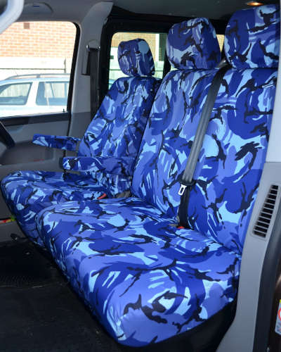 VW Transporter Seat Covers in Blue Camo
