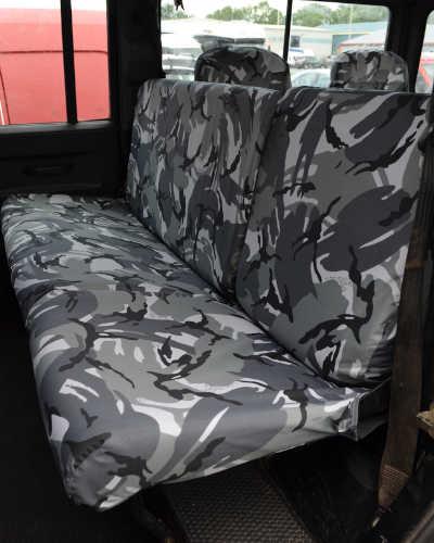 Defender Rear Seat Covers - Grey Camo